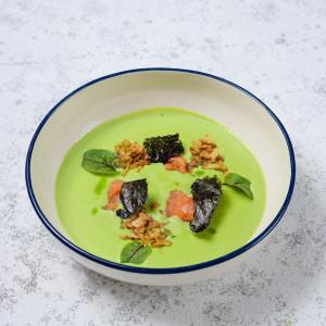 Суп - крем из зелёного горошка с лососем